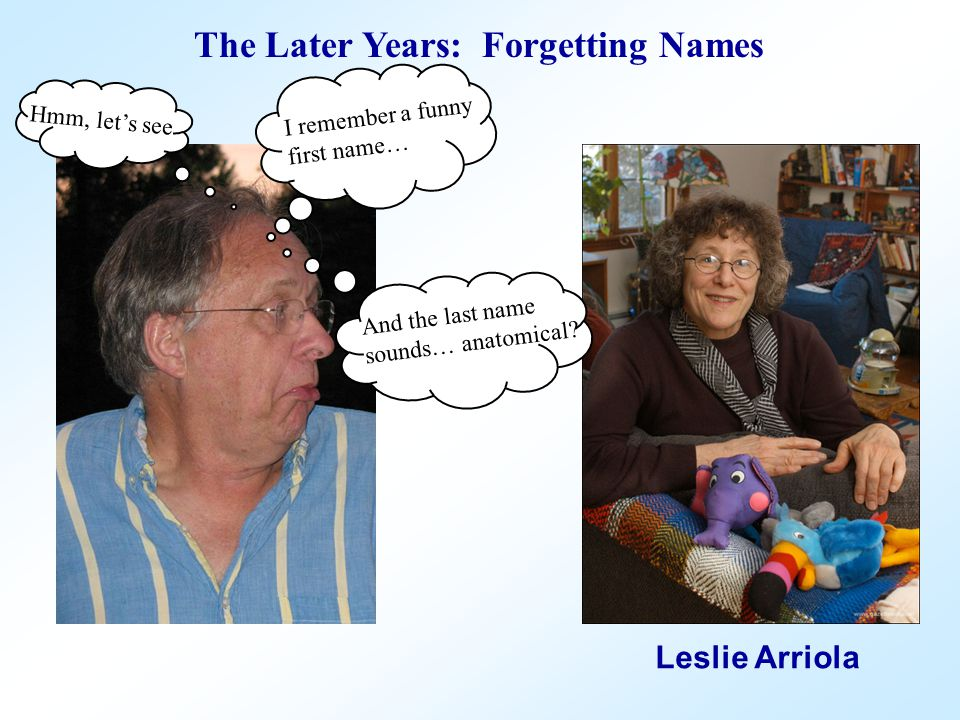 Oh, yeah! I've got it now! Mildred Tit The Later Years: Forgetting Names Leslie Arriola