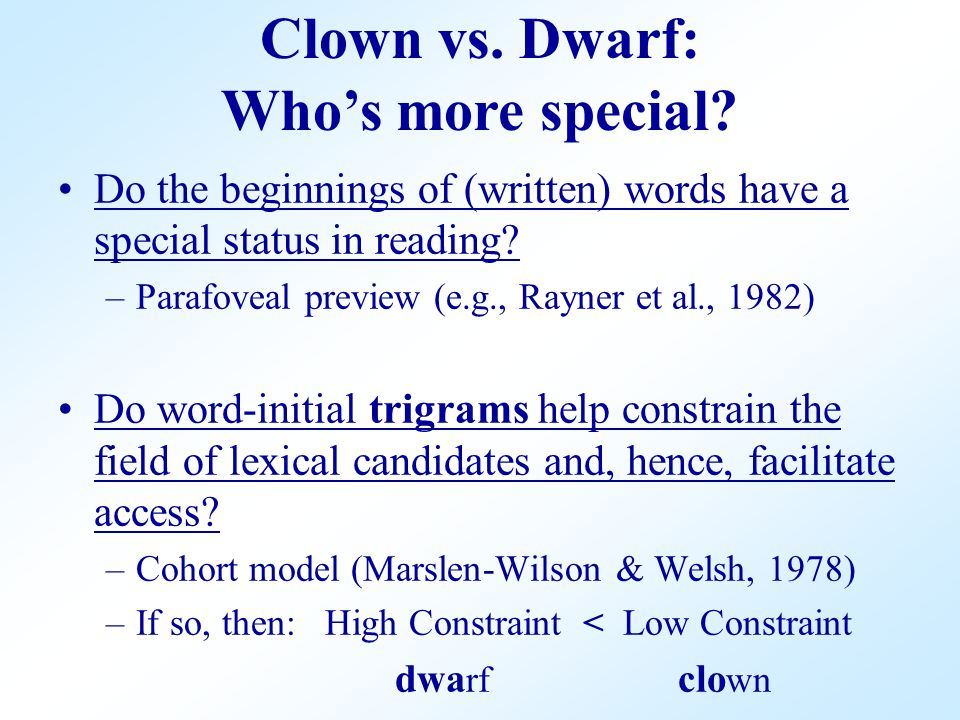 Do the beginnings of (written) words have a special status in reading? –Parafoveal preview (e.g., Rayner et al., 1982) Do word-initial trigrams help c
