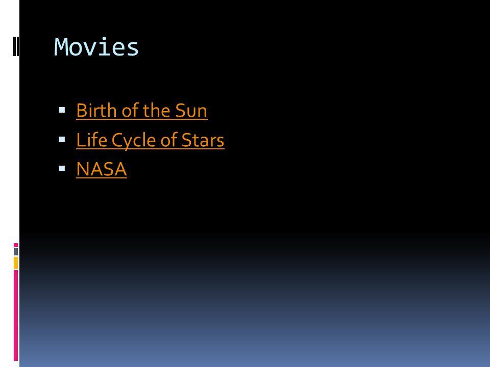 Movies  Birth of the Sun Birth of the Sun  Life Cycle of Stars Life Cycle of Stars  NASA NASA