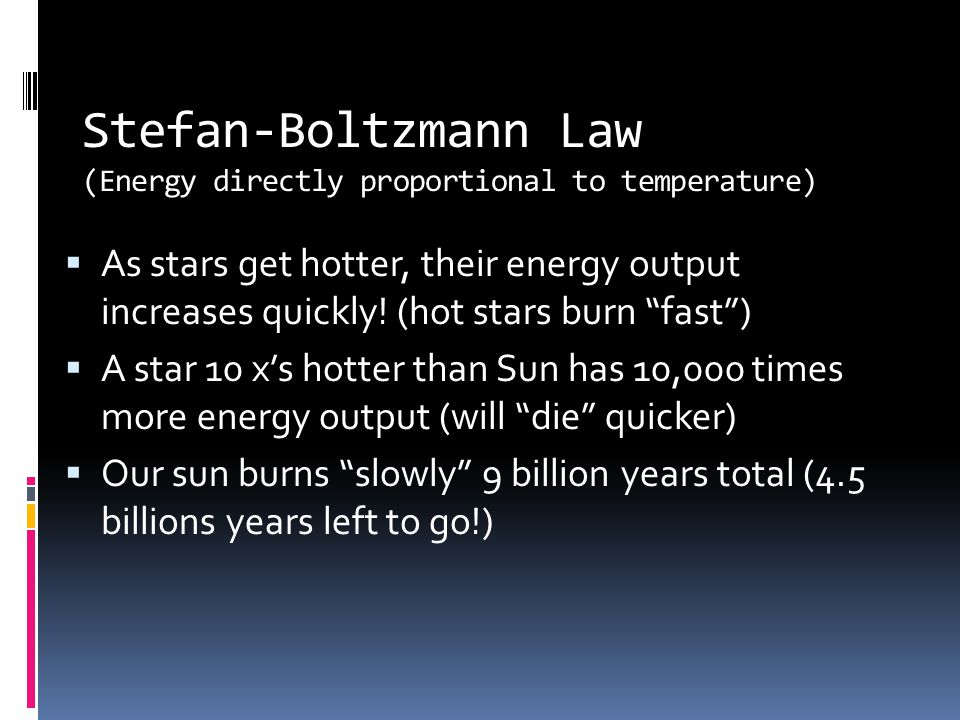 Stefan-Boltzmann Law (Energy directly proportional to temperature)  As stars get hotter, their energy output increases quickly.