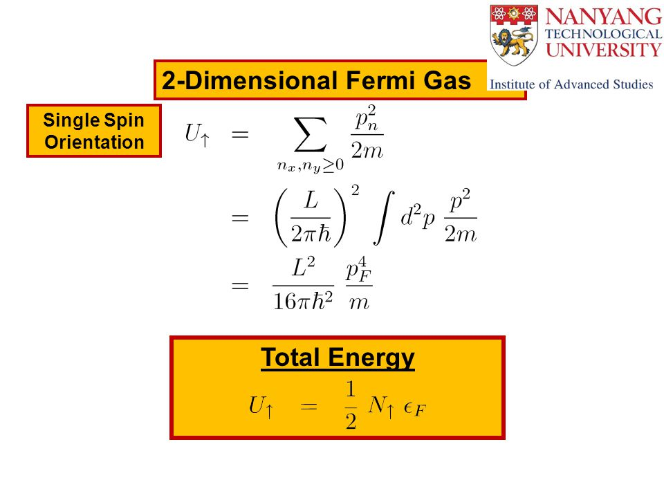 2-Dimensional Fermi Gas Single Spin Orientation Total Energy