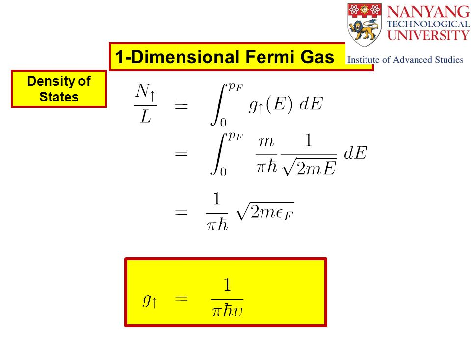 1-Dimensional Fermi Gas Density of States