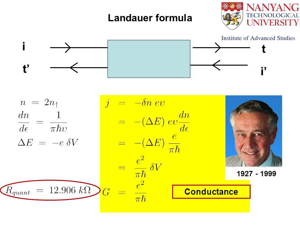 i i' t' t Landauer formula 1927 - 1999 Conductance