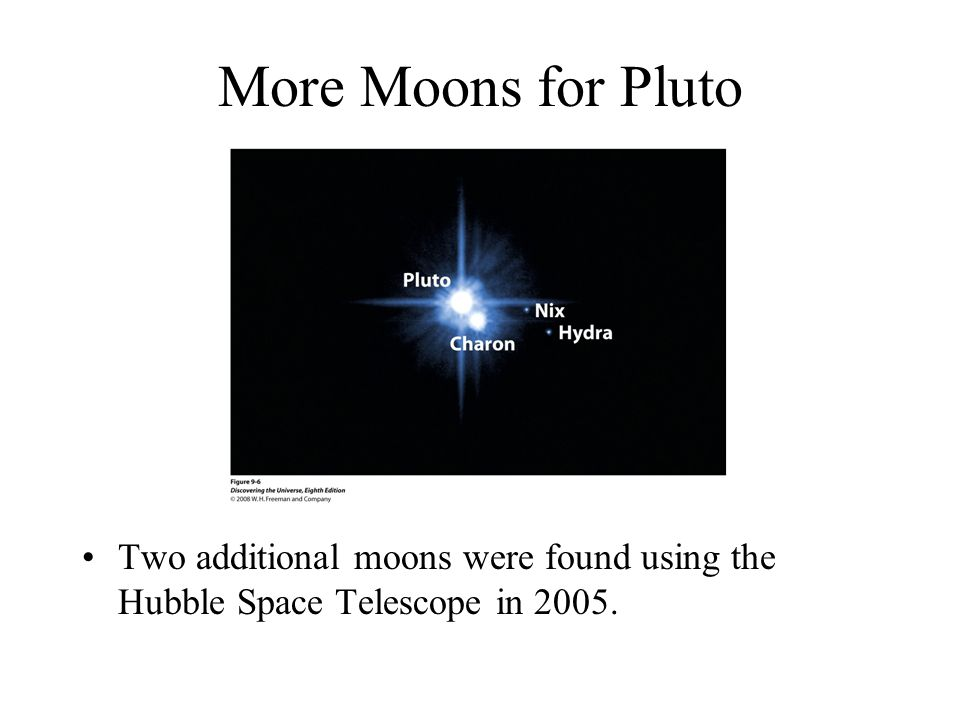 More Moons for Pluto Two additional moons were found using the Hubble Space Telescope in 2005.
