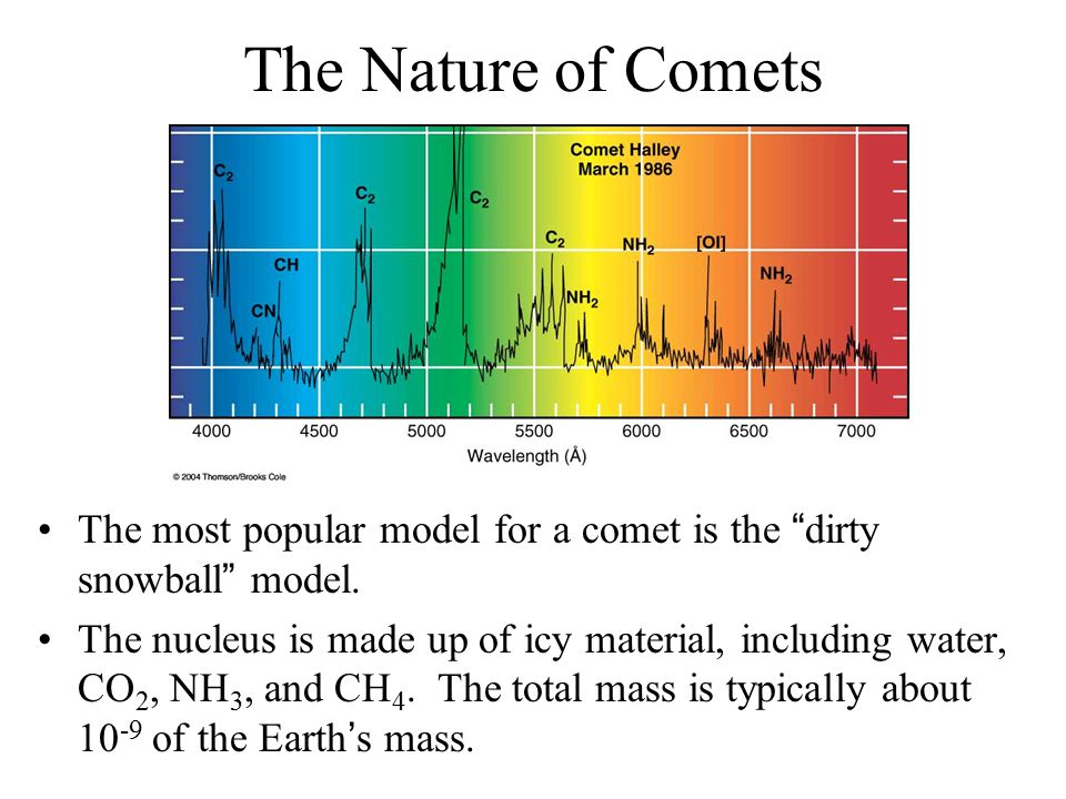 The Nature of Comets The most popular model for a comet is the dirty snowball model.