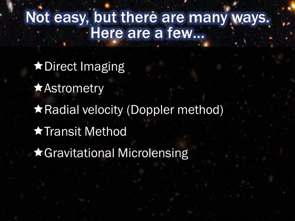  Direct Imaging  Astrometry  Radial velocity (Doppler method)  Transit Method  Gravitational Microlensing