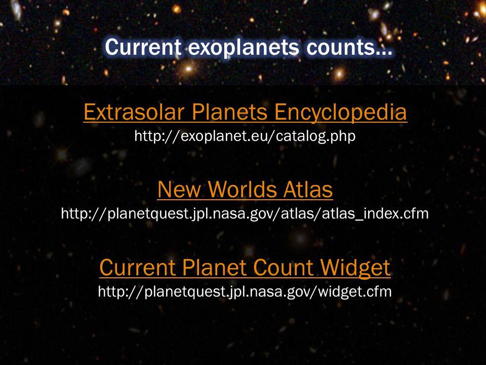 Extrasolar Planets Encyclopedia Extrasolar Planets Encyclopedia http://exoplanet.eu/catalog.php New Worlds Atlas http://planetquest.jpl.nasa.gov/atlas