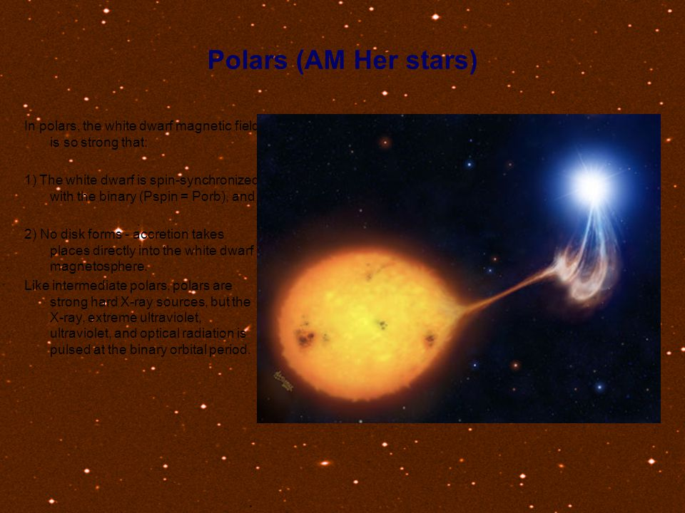 Polars (AM Her stars) In polars, the white dwarf magnetic field is so strong that: 1) The white dwarf is spin-synchronized with the binary (Pspin = Po