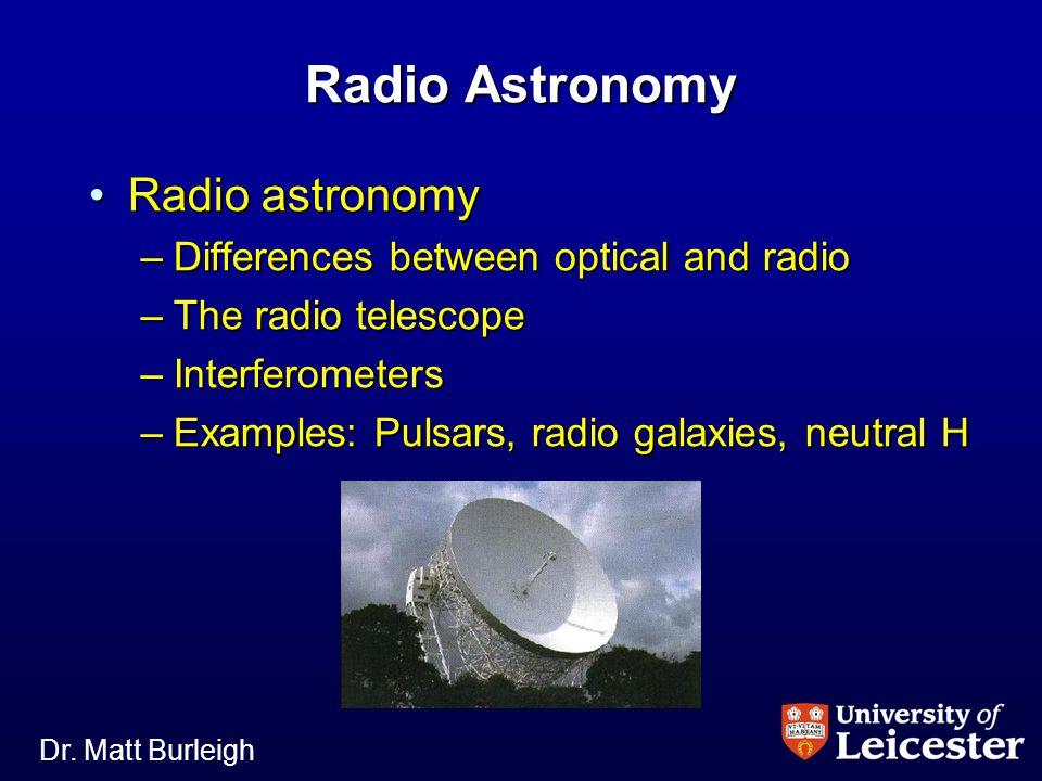 Dr. Matt Burleigh Radio Astronomy Radio astronomyRadio astronomy –Differences between optical and radio –The radio telescope –Interferometers –Example