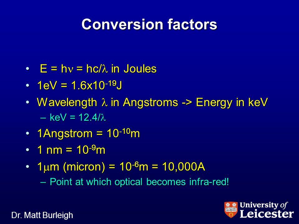 Dr. Matt Burleigh Conversion factors E = h  = hc/  in Joules E = h  = hc/  in Joules 1eV = 1.6x10 -19 J1eV = 1.6x10 -19 J Wavelength  in Angstrom