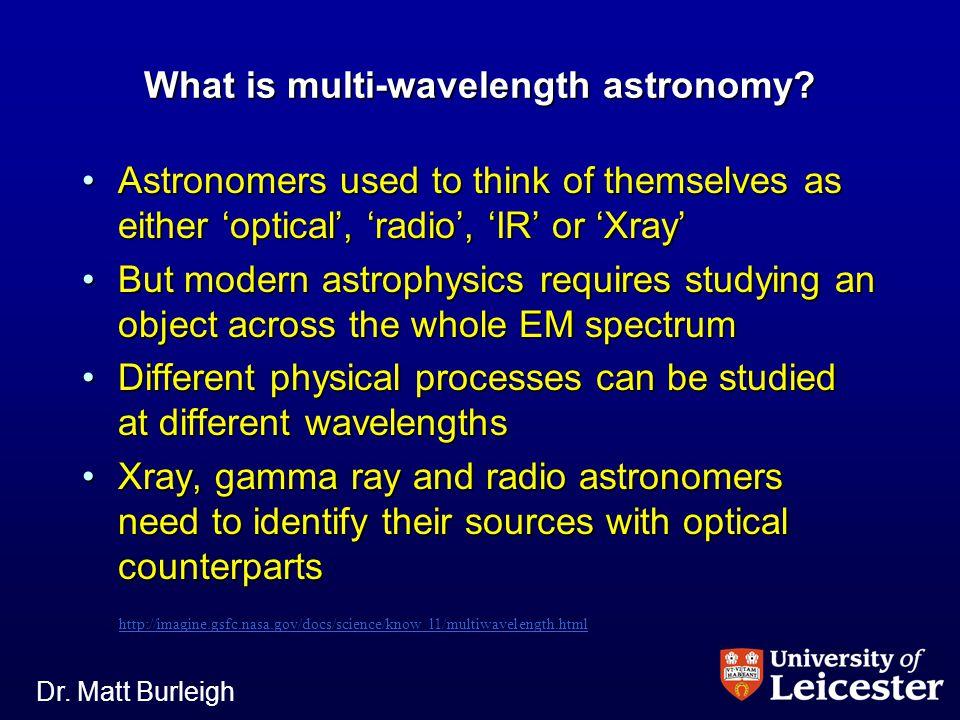 Dr. Matt Burleigh The Milky Way: Optical Stars, Dust lanes