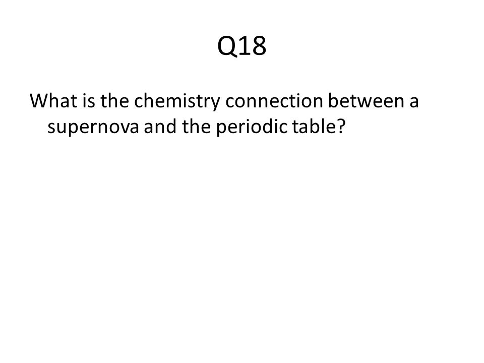 Q18 What is the chemistry connection between a supernova and the periodic table?