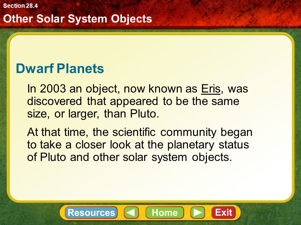 Dwarf Planets Other Solar System Objects Section 28.4 In 2003 an object, now known as Eris, was discovered that appeared to be the same size, or larger, than Pluto.