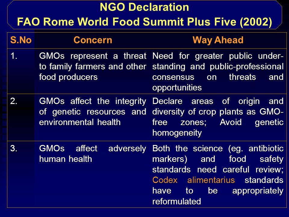 NGO Declaration FAO Rome World Food Summit Plus Five (2002) S.NoConcern Way Ahead 1.