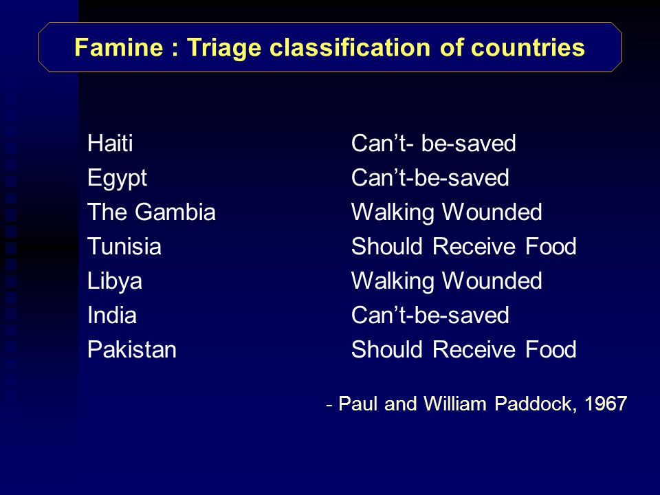 HaitiCan't- be-saved EgyptCan't-be-saved The GambiaWalking Wounded TunisiaShould Receive Food Libya Walking Wounded IndiaCan't-be-saved PakistanShould Receive Food Famine : Triage classification of countries - Paul and William Paddock, 1967
