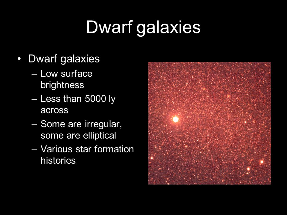 Dwarf galaxies –Low surface brightness –Less than 5000 ly across –Some are irregular, some are elliptical –Various star formation histories