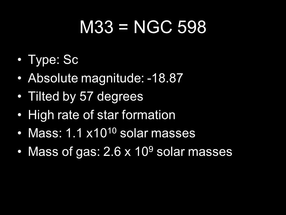 M33 = NGC 598 Type: Sc Absolute magnitude: -18.87 Tilted by 57 degrees High rate of star formation Mass: 1.1 x10 10 solar masses Mass of gas: 2.6 x 10 9 solar masses