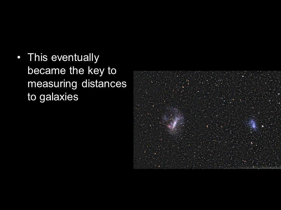 This eventually became the key to measuring distances to galaxies