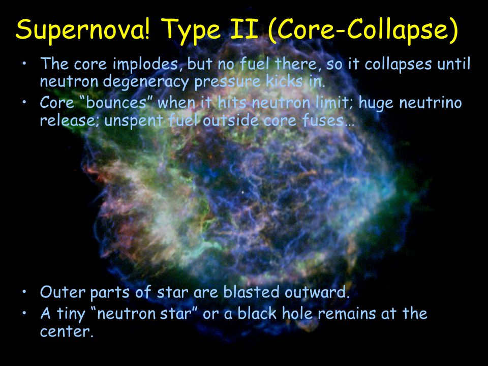 "The core implodes, but no fuel there, so it collapses until neutron degeneracy pressure kicks in. Core ""bounces"" when it hits neutron limit; huge neut"