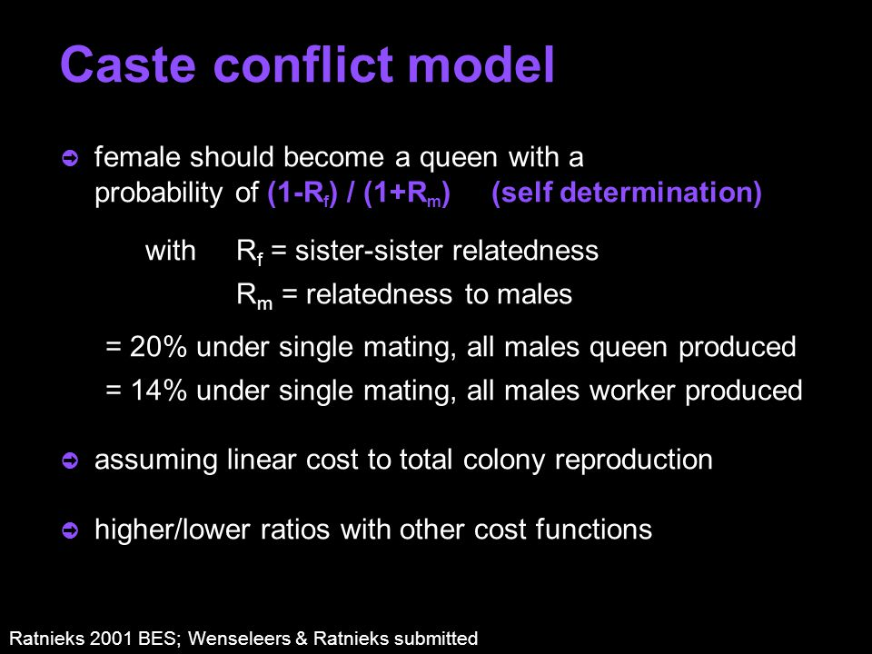 Caste conflict model ò female should become a queen with a probability of (1-R f ) / (1+R m ) (self determination) with R f = sister-sister relatedness R m = relatedness to males = 20% under single mating, all males queen produced = 14% under single mating, all males worker produced ò assuming linear cost to total colony reproduction ò higher/lower ratios with other cost functions Ratnieks 2001 BES; Wenseleers & Ratnieks submitted