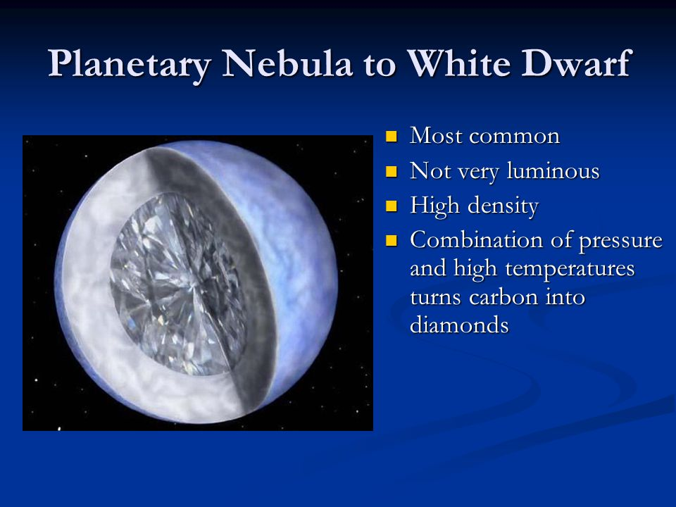 Planetary Nebula to White Dwarf Most common Most common Not very luminous Not very luminous High density High density Combination of pressure and high