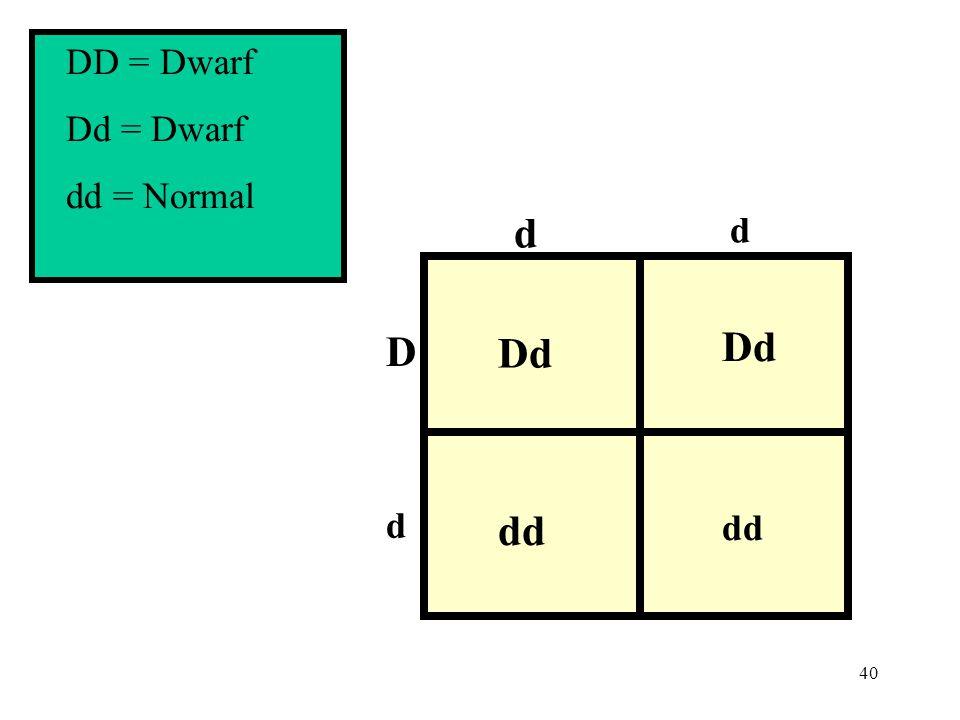 40 d d D Dd dd Dd dd d DD = Dwarf Dd = Dwarf dd = Normal