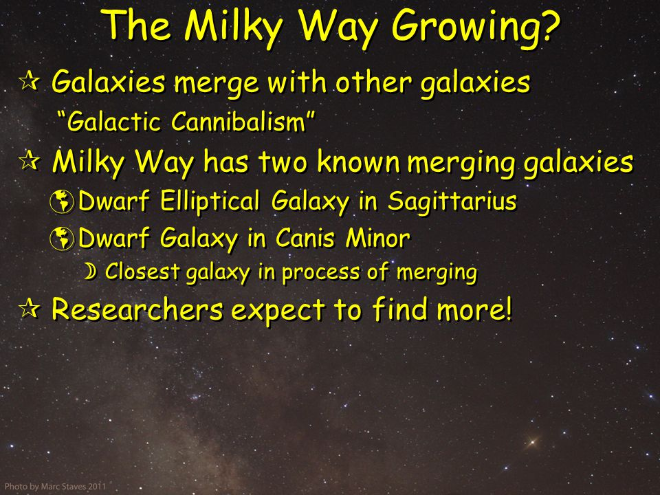 The Milky Way Growing.