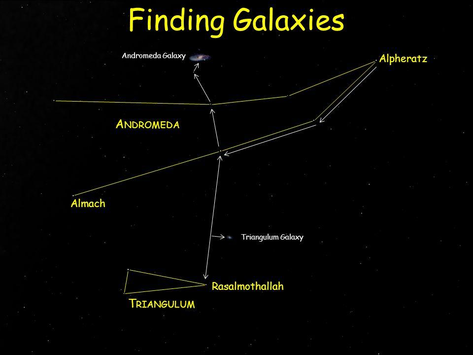 Alpheratz Almach Rasalmothallah A NDROMEDA Finding Galaxies Andromeda Galaxy Triangulum Galaxy T RIANGULUM
