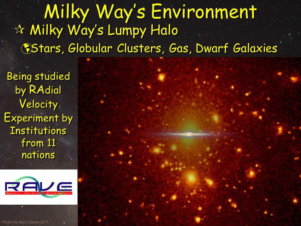 Milky Way's Environment  Milky Way's Lumpy Halo  Stars, Globular Clusters, Gas, Dwarf Galaxies  Milky Way's Lumpy Halo  Stars, Globular Clusters, Gas, Dwarf Galaxies Being studied by RA dial V elocity E xperiment by Institutions from 11 nations