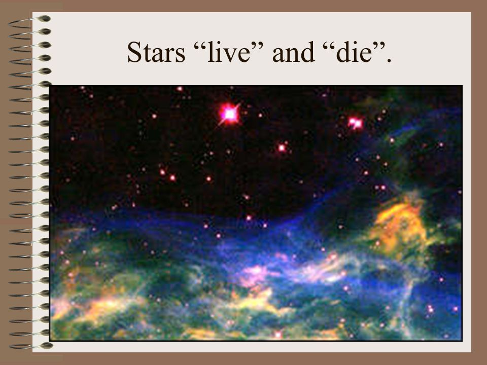 """Stars """"live"""" and """"die""""."""
