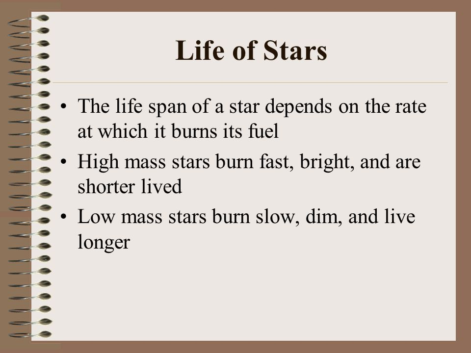 Life of Stars The life span of a star depends on the rate at which it burns its fuel High mass stars burn fast, bright, and are shorter lived Low mass stars burn slow, dim, and live longer