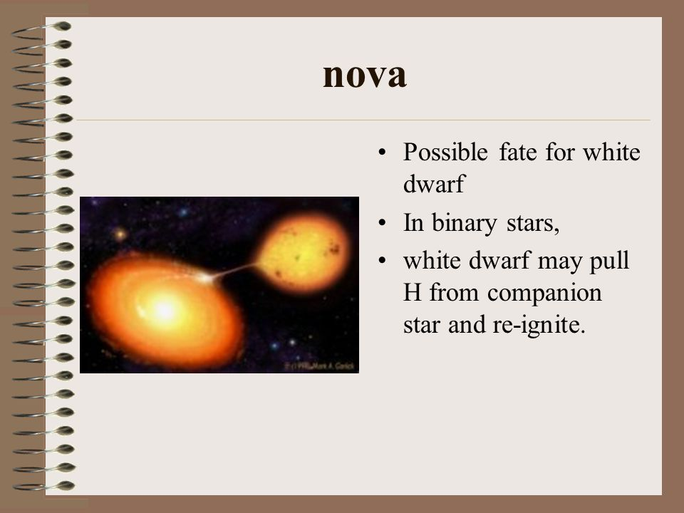 nova Possible fate for white dwarf In binary stars, white dwarf may pull H from companion star and re-ignite.