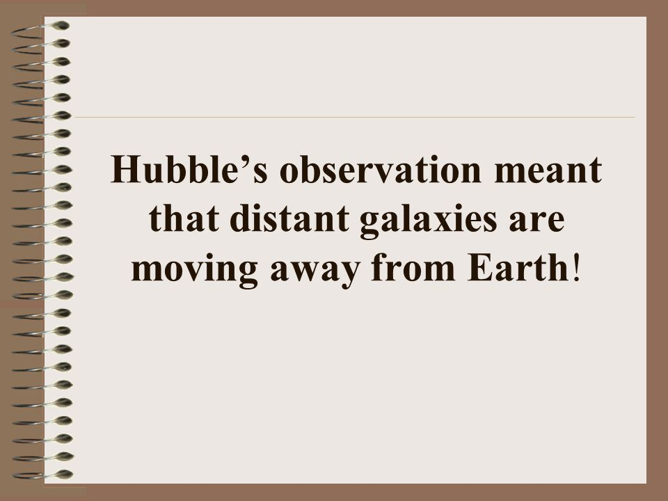 Hubble's observation meant that distant galaxies are moving away from Earth!
