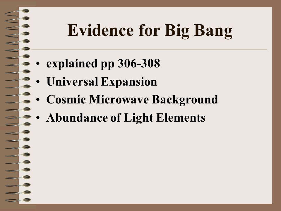 Evidence for Big Bang explained pp 306-308 Universal Expansion Cosmic Microwave Background Abundance of Light Elements