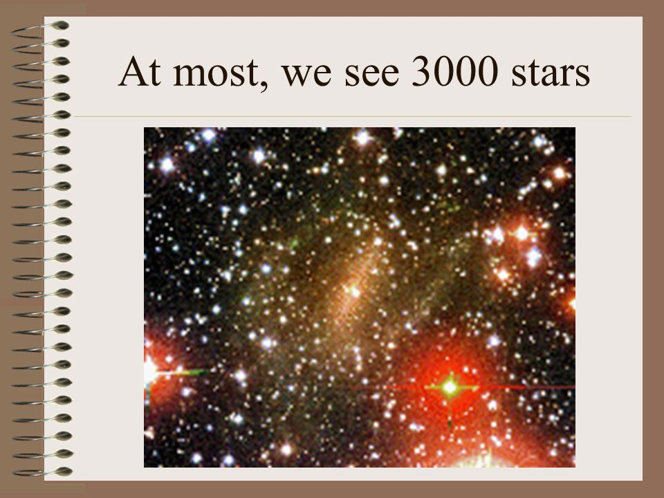 At most, we see 3000 stars