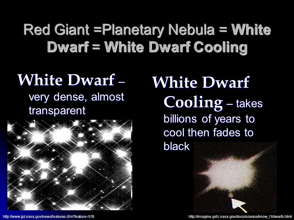 Red Giant =Planetary Nebula = White Dwarf = White Dwarf Cooling White Dwarf – very dense, almost transparent White Dwarf Cooling – takes billions of years to cool then fades to black http://www.jpl.nasa.gov/news/features.cfm feature=576http://imagine.gsfc.nasa.gov/docs/science/know_l1/dwarfs.html