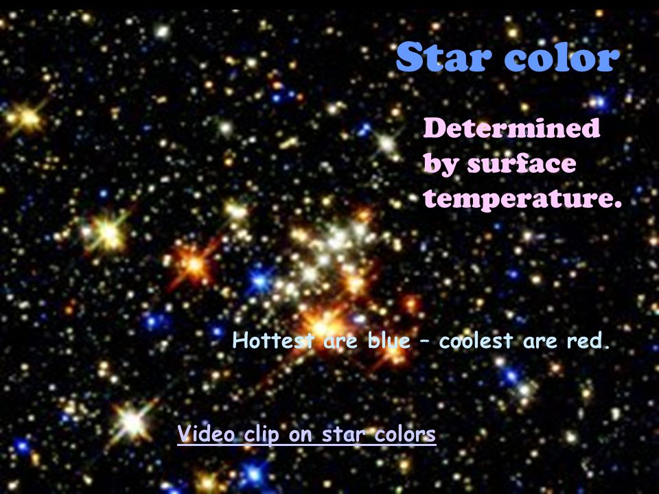 Star color Determined by surface temperature. Hottest are blue – coolest are red.