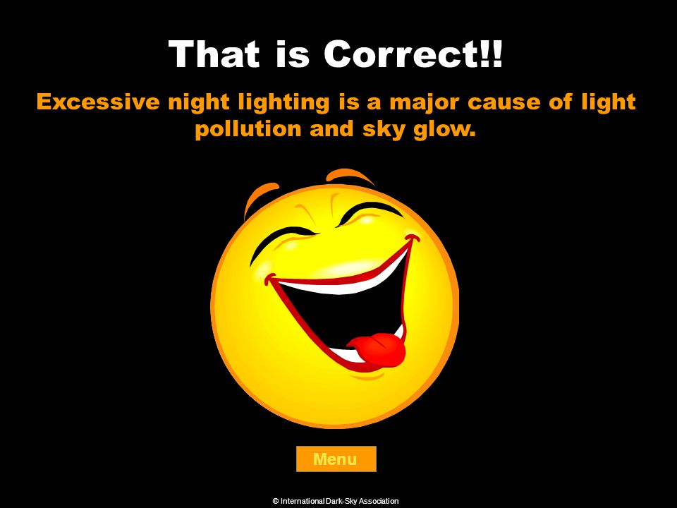 That is Correct!. Menu Excessive night lighting is a major cause of light pollution and sky glow.