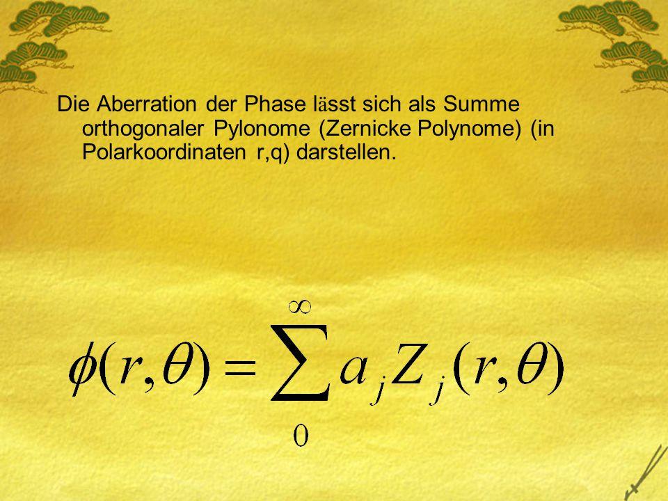 Die Aberration der Phase l ä sst sich als Summe orthogonaler Pylonome (Zernicke Polynome) (in Polarkoordinaten r,q) darstellen.