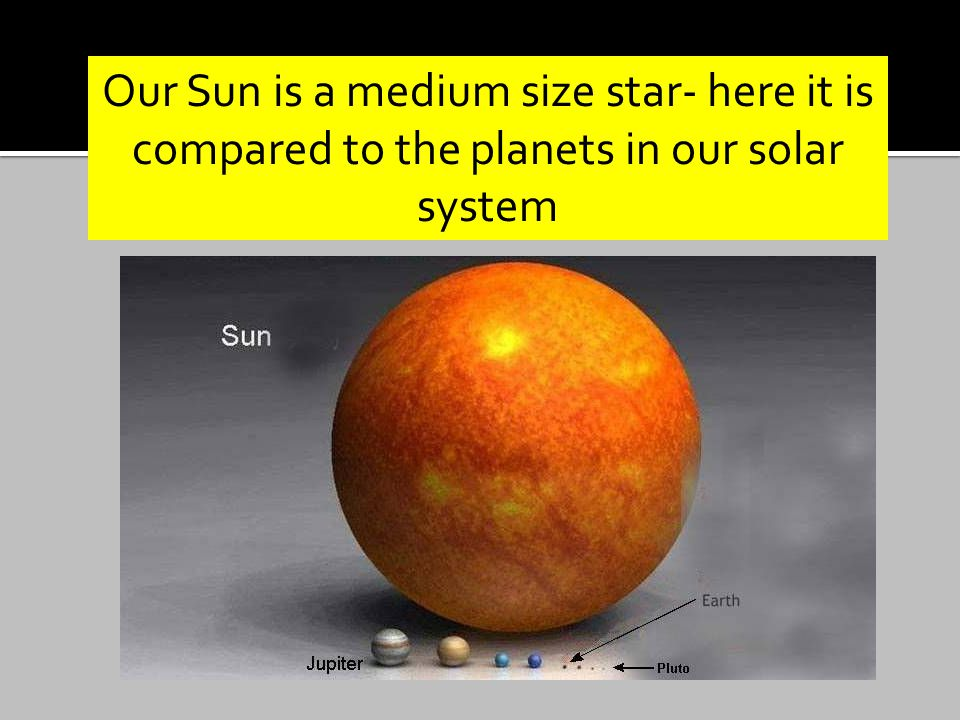 Our Sun is a medium size star- here it is compared to the planets in our solar system