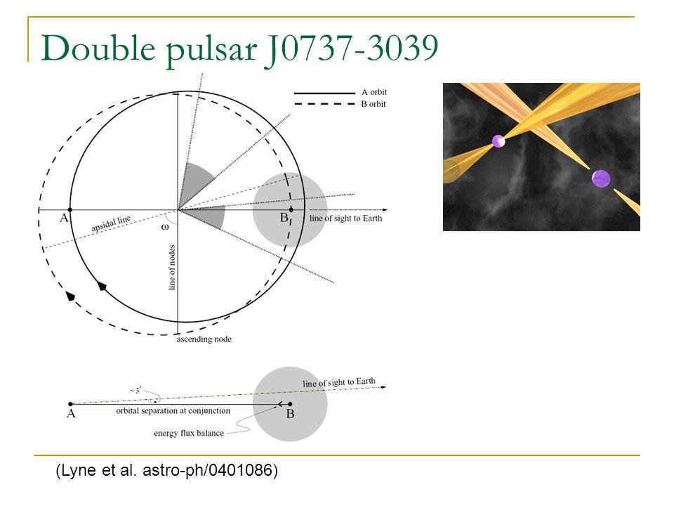 Masses for PSR J0737-3039 (Kramer et al. astro-ph/0609417) The most precise values.