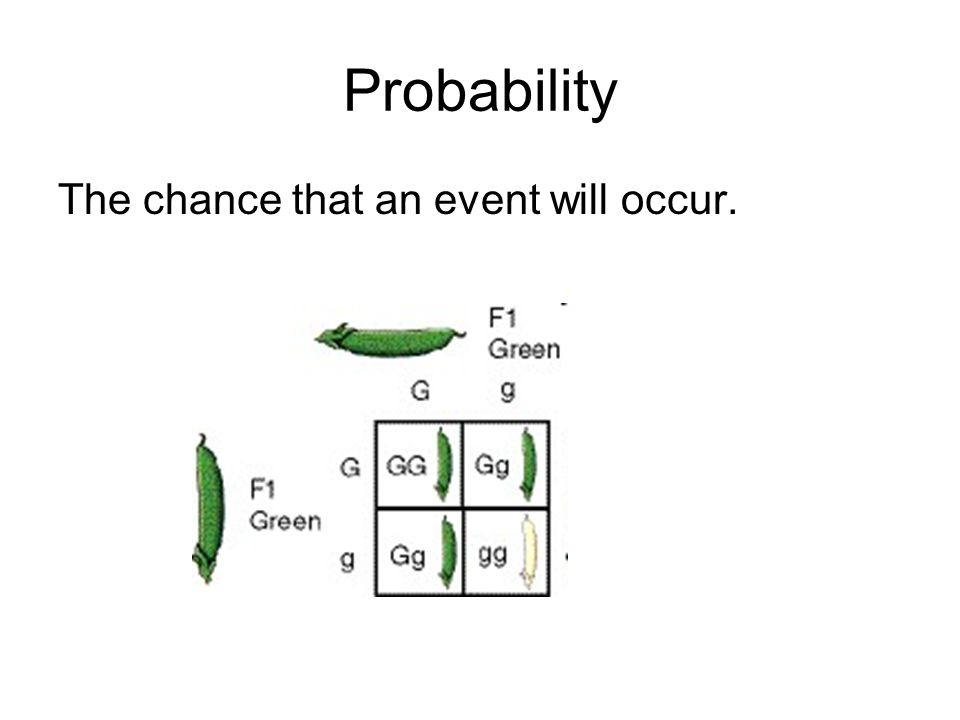 Probability The chance that an event will occur.