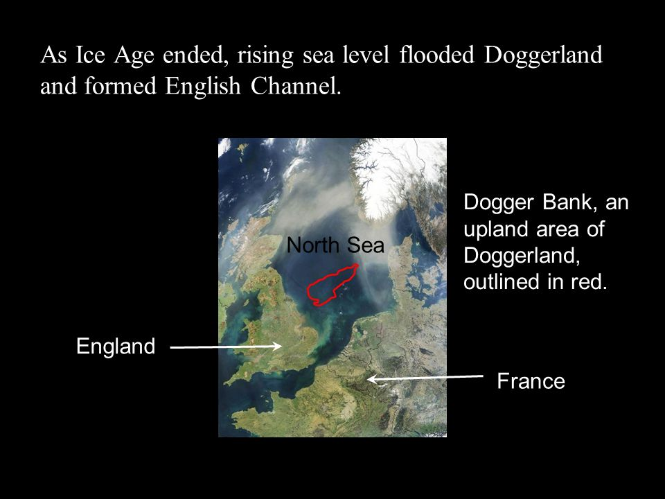 As Ice Age ended, rising sea level flooded Doggerland and formed English Channel. Dogger Bank, an upland area of Doggerland, outlined in red. England