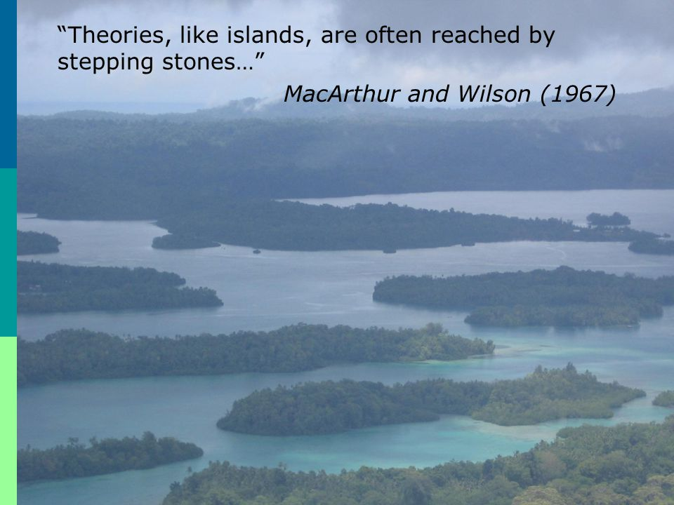 """Theories, like islands, are often reached by stepping stones…"" MacArthur and Wilson (1967)"
