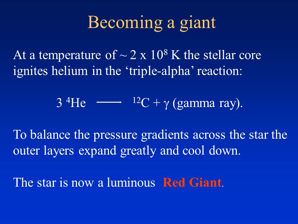 Becoming a giant At a temperature of ~ 2 x 10 8 K the stellar core ignites helium in the 'triple-alpha' reaction: 3 4 He 12 C +  (gamma ray). To bala
