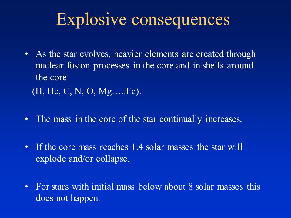 Explosive consequences As the star evolves, heavier elements are created through nuclear fusion processes in the core and in shells around the core (H, He, C, N, O, Mg…..Fe).