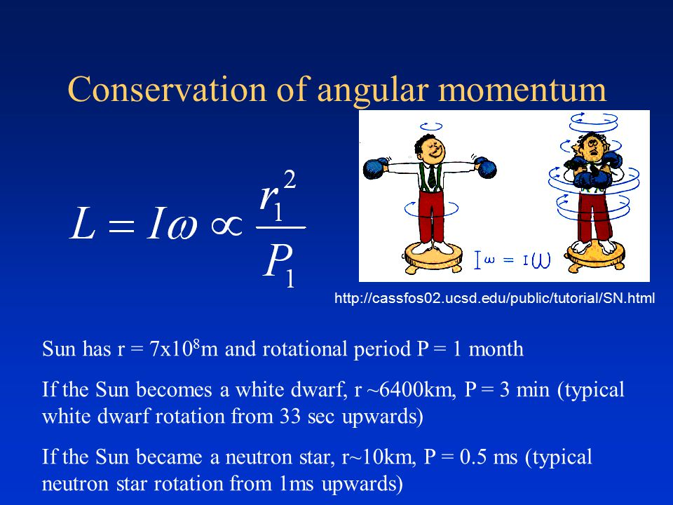 Conservation of angular momentum Sun has r = 7x10 8 m and rotational period P = 1 month If the Sun becomes a white dwarf, r ~6400km, P = 3 min (typical white dwarf rotation from 33 sec upwards) If the Sun became a neutron star, r~10km, P = 0.5 ms (typical neutron star rotation from 1ms upwards) http://cassfos02.ucsd.edu/public/tutorial/SN.html