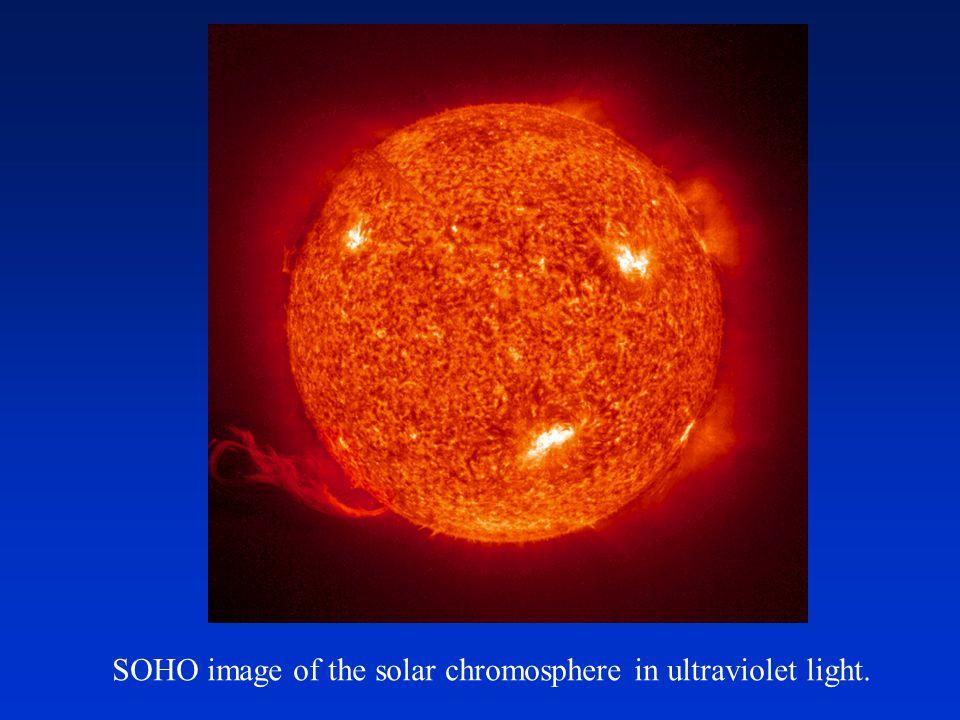 SOHO image of the solar chromosphere in ultraviolet light.