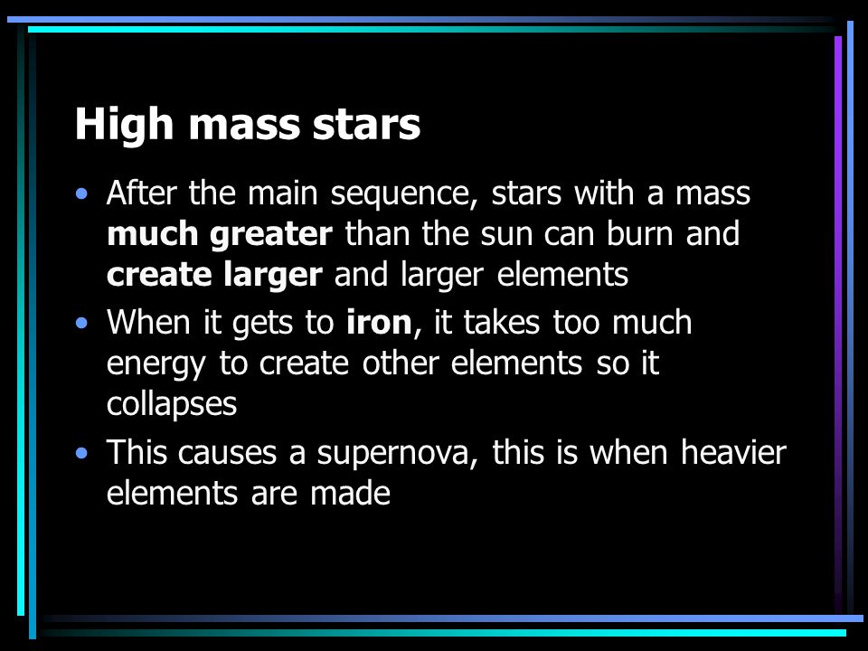 High Mass Stars have a different fate They burn faster And Die differently