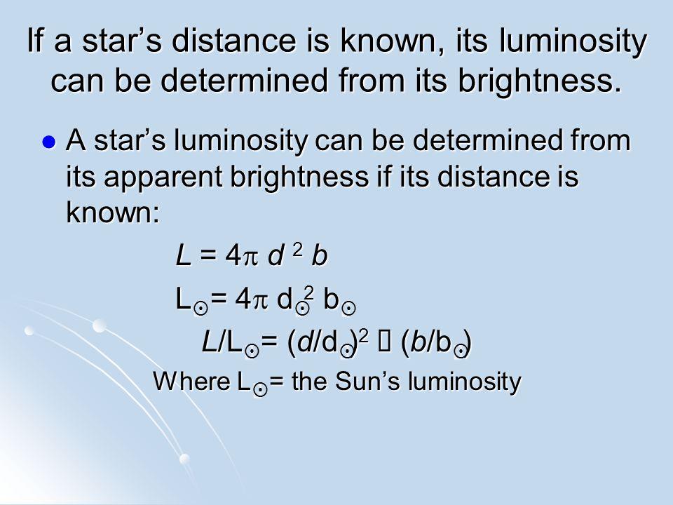 Example: The Sun d = 1 AU = 1.5  10 11 m b  = 1370 W/m 2 (Solar Constant) L  = 4  d 2 b  = 1.256  10 1 2.25  10 22 m 2 1.37  10 3 W/m 2 L  = 3.87  10 26 W
